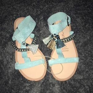 Genuine Leather teal tassel sandals 7.5